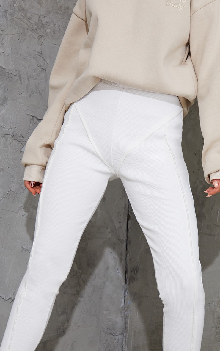 Cream Raw Edge Seam Detail Ribbed Leggings 4