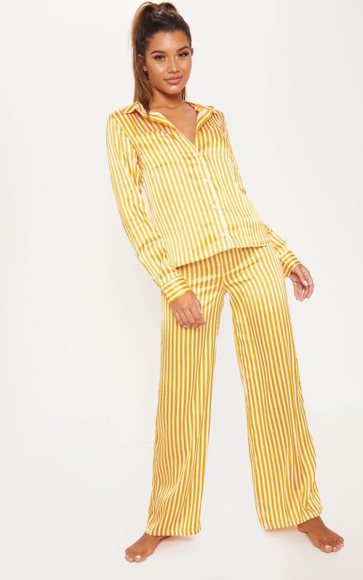 Mustard & White Stripe Satin Long Leg PJ Set 4