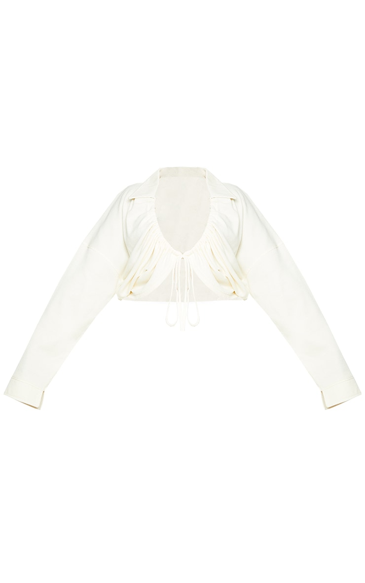 Plus Cream Ruched Tie Waffle Textured Cardigan 5