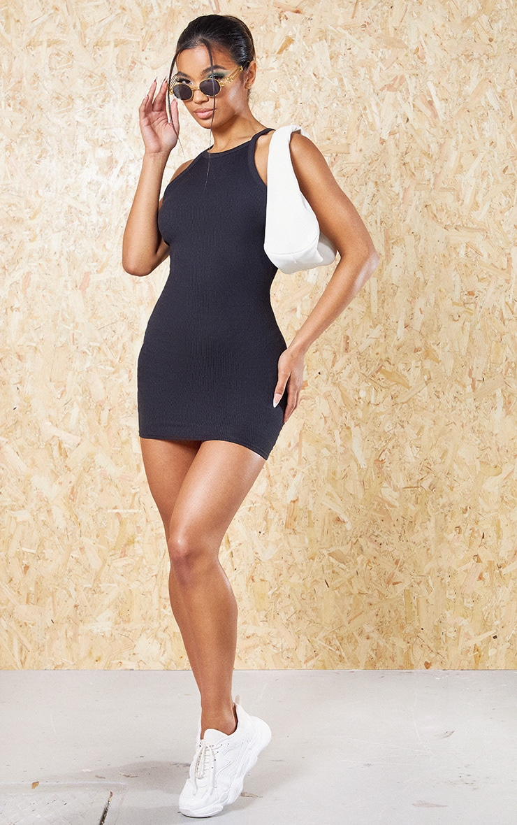 Black Recycled Rib Racer Neck Bodycon Dress 3