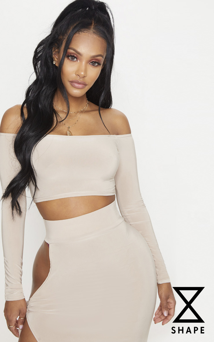 Shape Stone Slinky Bardot  Long Sleeve Crop Top 1