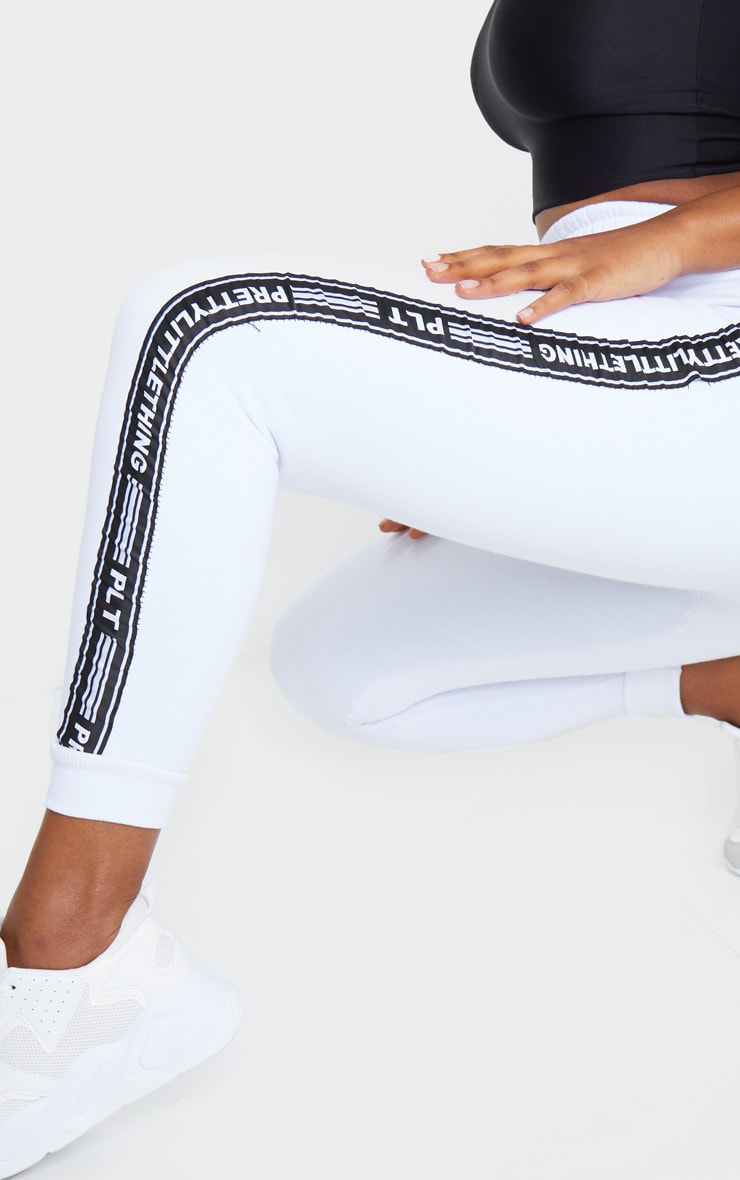 PRETTYLITTLETHING White Tape Cuff Joggers 4