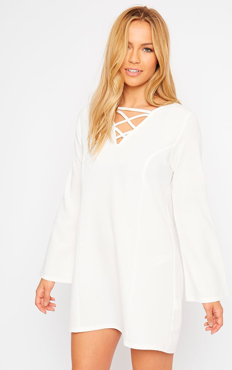 Liz Cream Cross Front Crepe Loose Fit Swing Dress 1