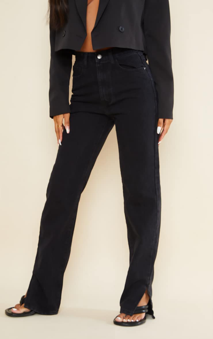 بنطلون جينز بنهاية مشقوقة باللون الأسود 2