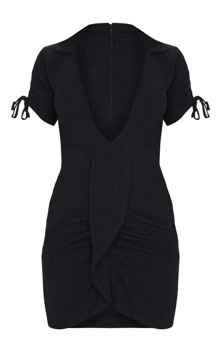 Black Linen Ruched Sleeve Deep Plunge Bodycon Dress 3
