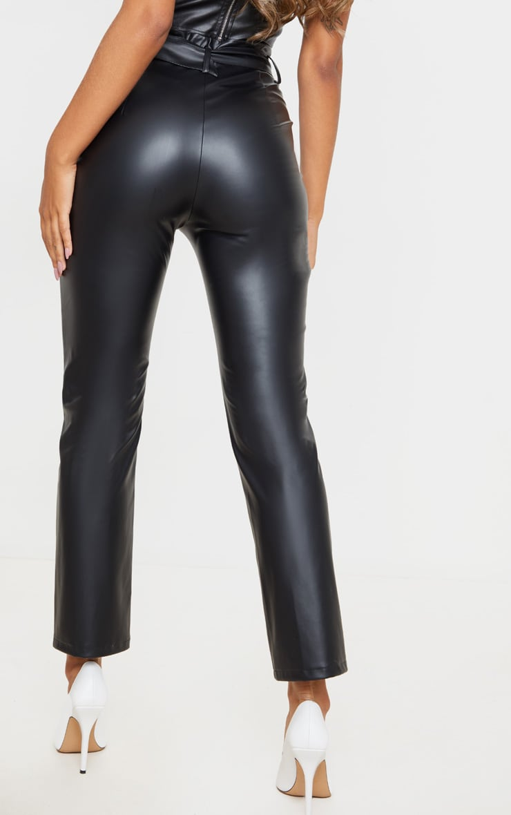 Black Belted Straight Leg Faux Leather Pants 3