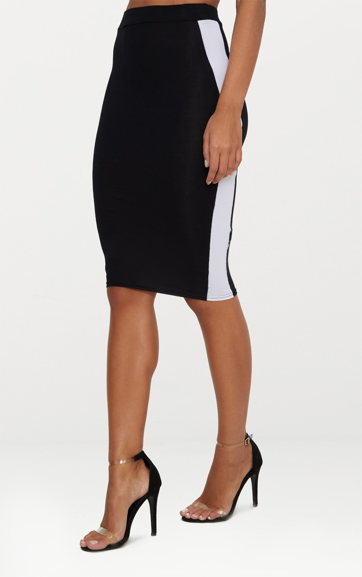 Black Contrast Stripe Midi Skirt 2