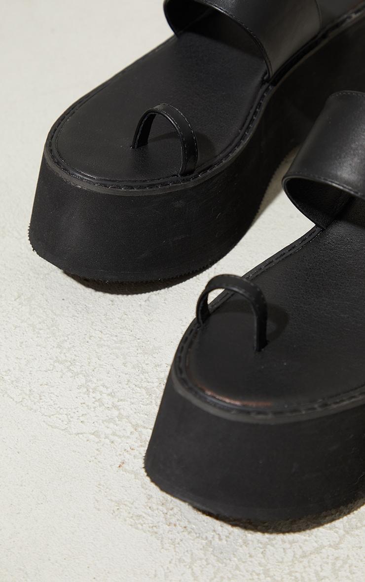 Black Toe Loop Mule Flatform Sandals 4