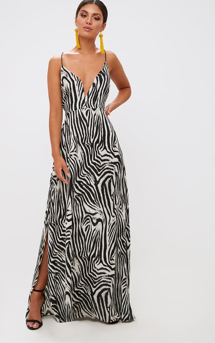 Black Zebra Print Extreme Split Maxi Dress 1