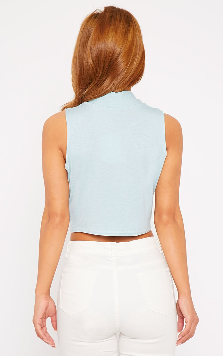 Sandra Powder Blue Jersey High Neck Crop Top  2