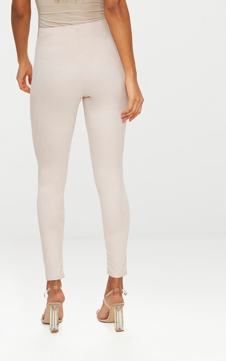 Cream Faux Suede Skinny Trousers 4