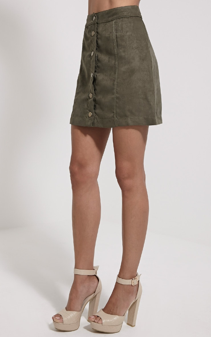 Cheryl Khaki Faux Suede Button Front Skirt 3