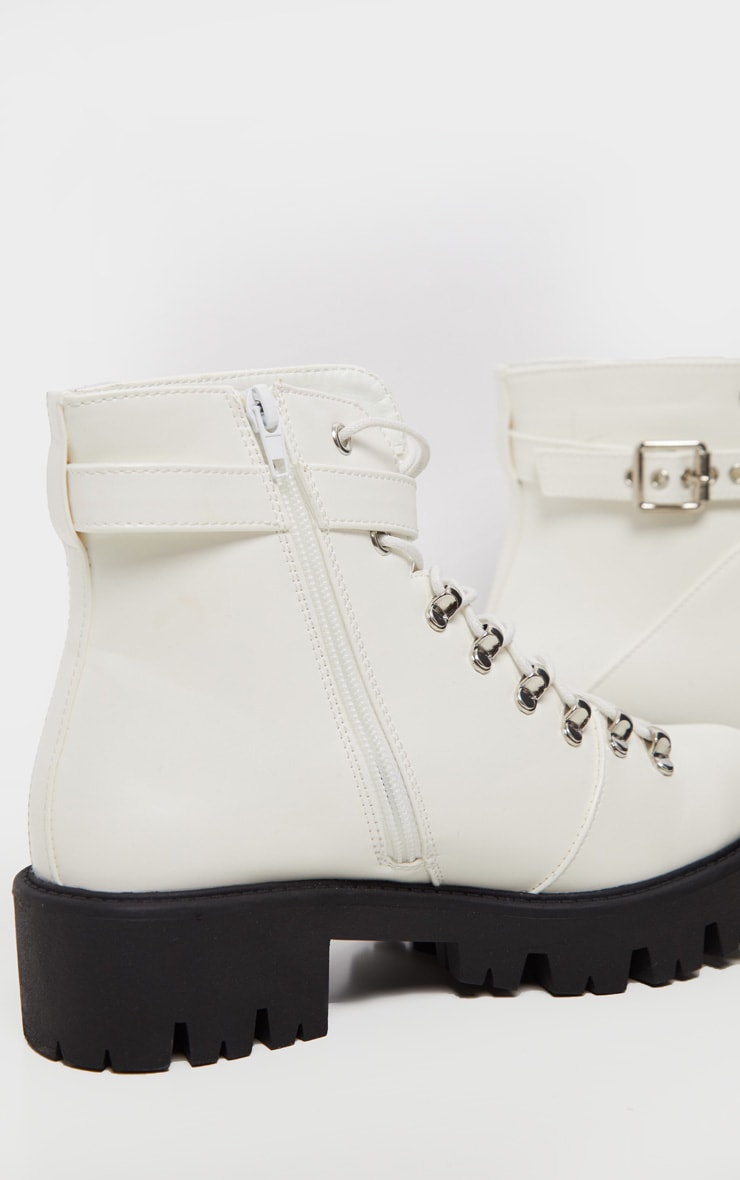 White Hiker Lace Up Ankle Buckle Boot 5