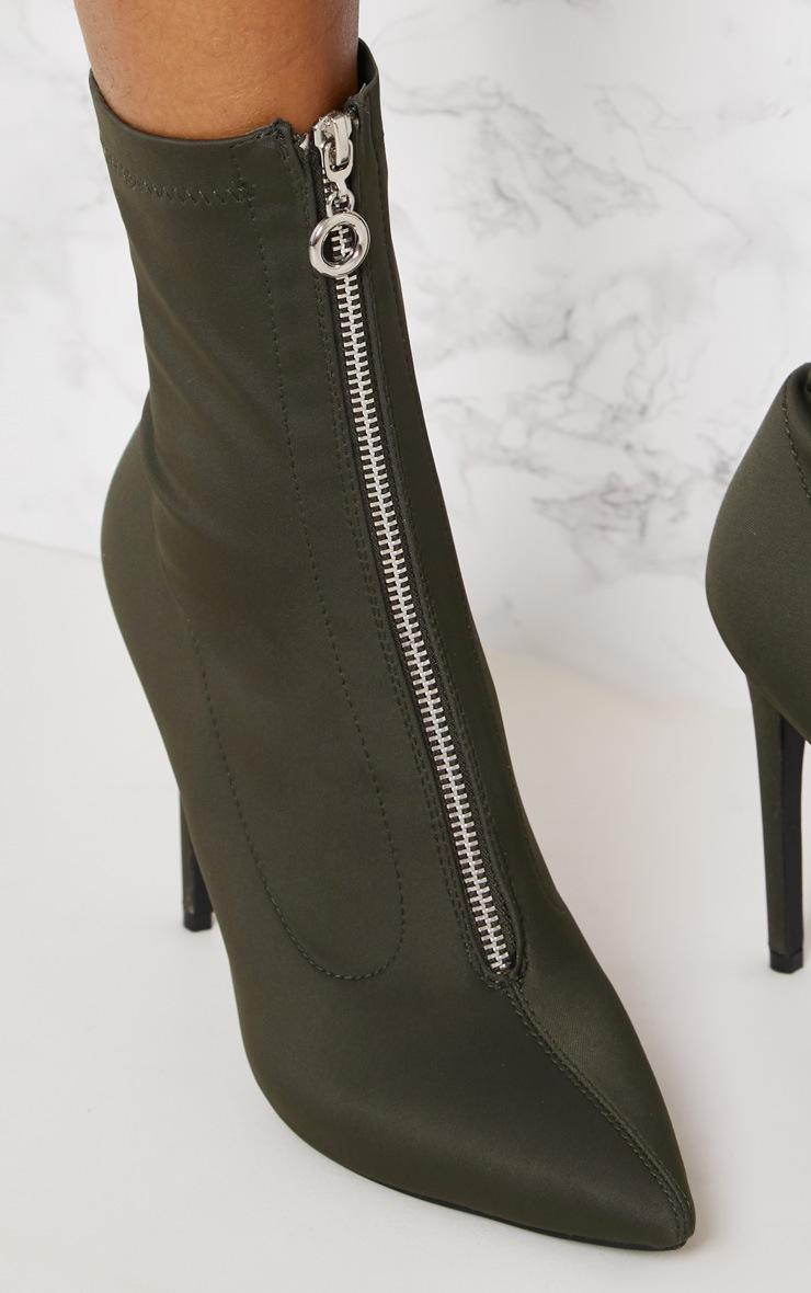 Khaki Lycra Zip Front Sock Boot 6
