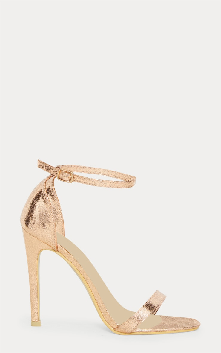 Clover Rose Gold Strap Heeled Sandals 3