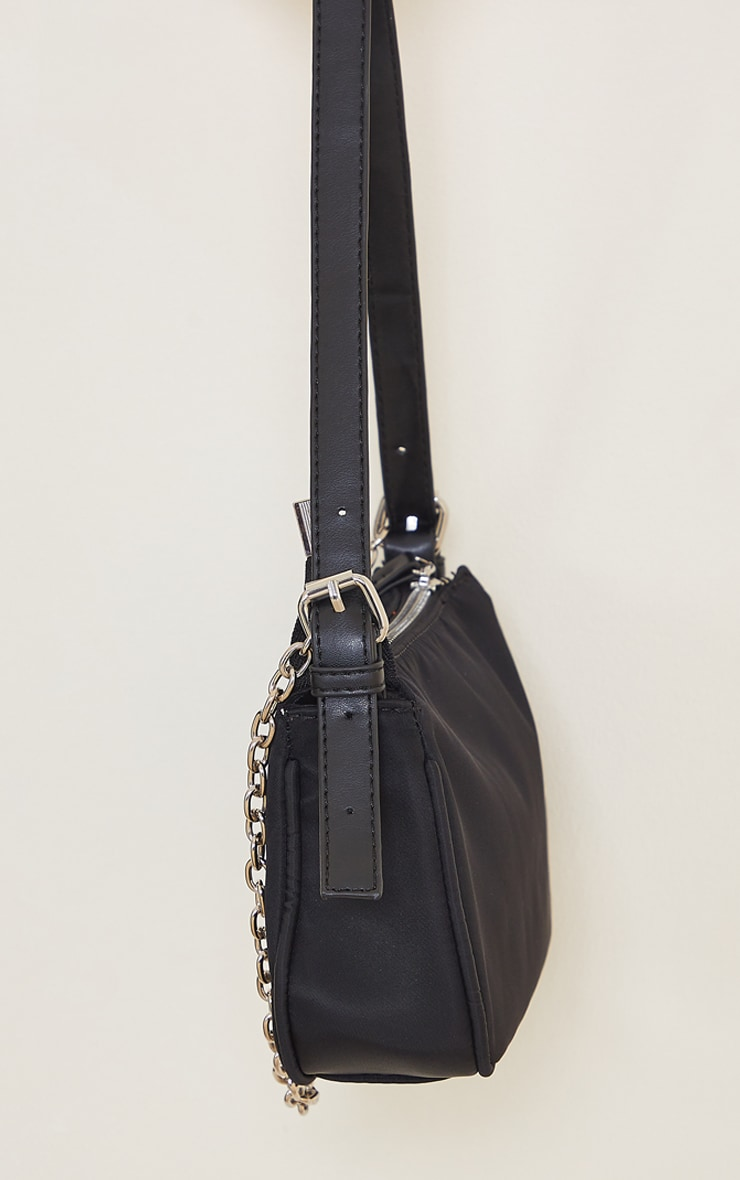 Black Nylon Silver Chain Shoulder Bag 4