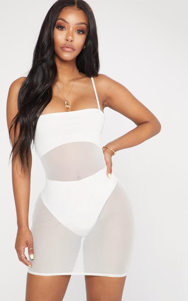 Shape White Mesh Panel Bodycon Dress 1