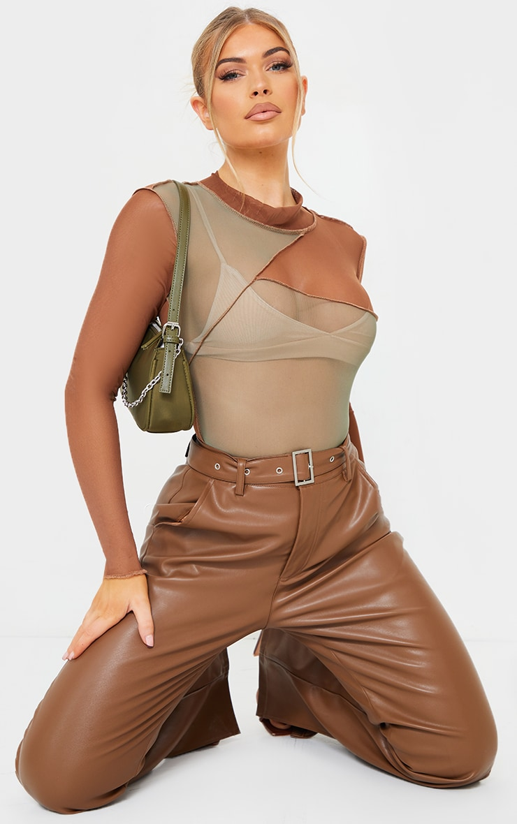 Khaki Mesh High Neck Patchwork Long Sleeve Bodysuit 3