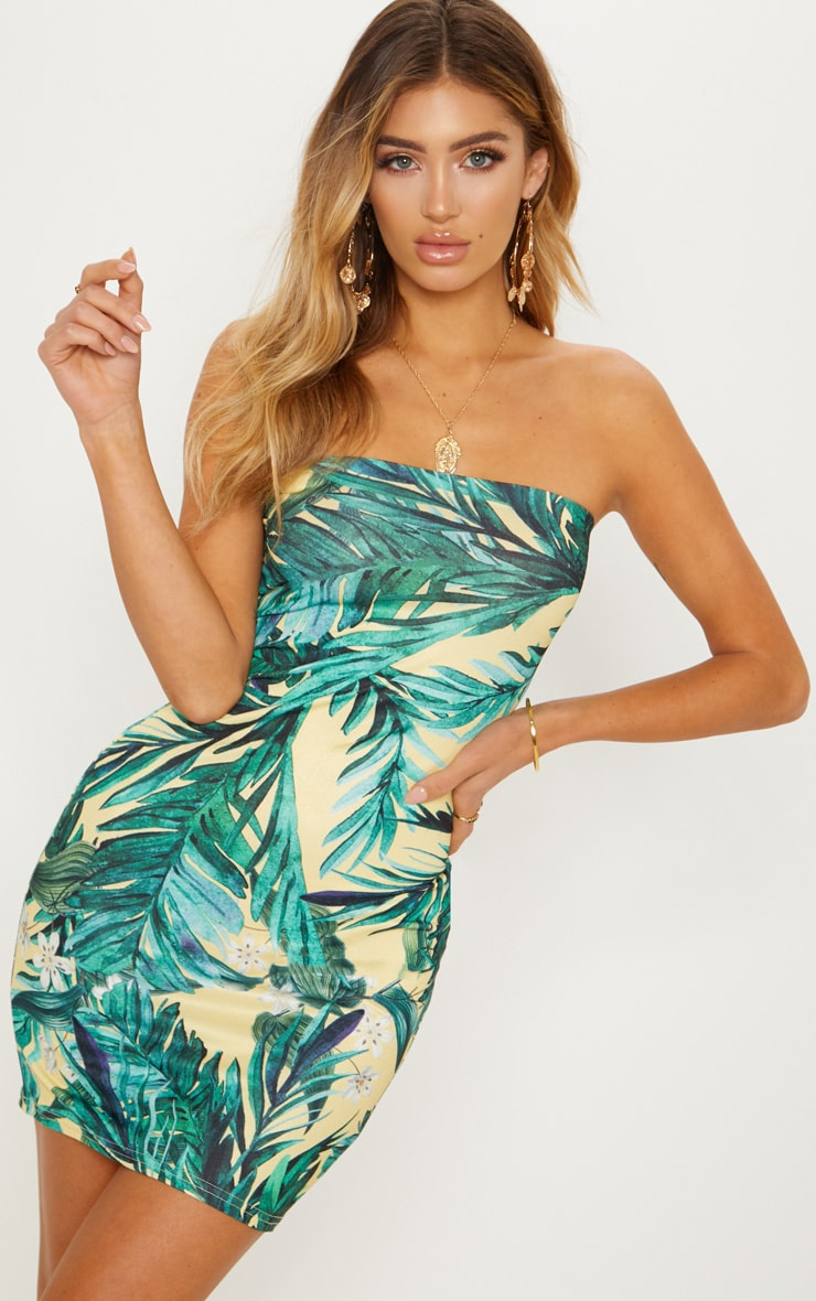 Yellow Tropical Print Bandeau Bodycon Dress