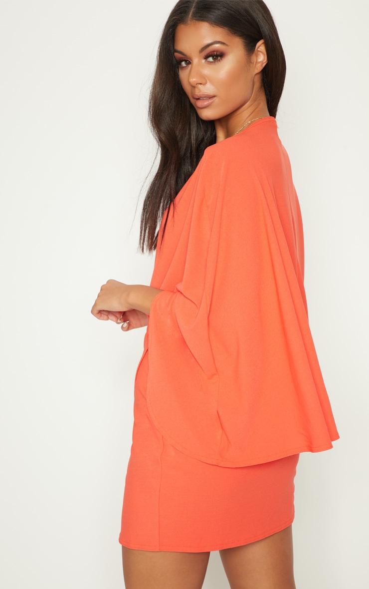 Bright Orange Plunge Cape Wrap Over Bodycon Dress 4