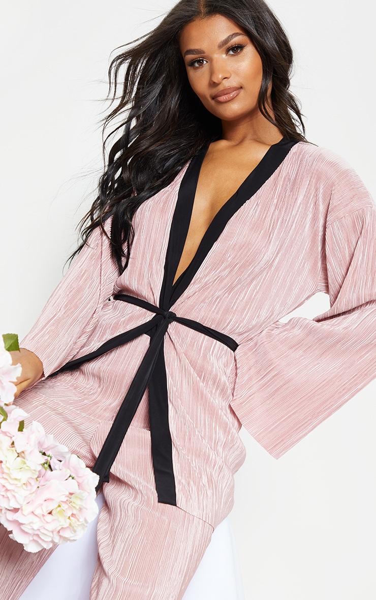 Rose Plisse Long Sleeve Robe 1