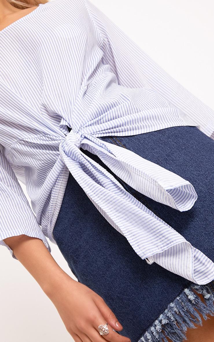Waiola Blue Stripe Tie Front Shirt 5