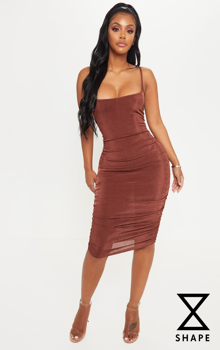 Shape Chocolate Brown Slinky Ruched Bodycon Dress by Prettylittlething
