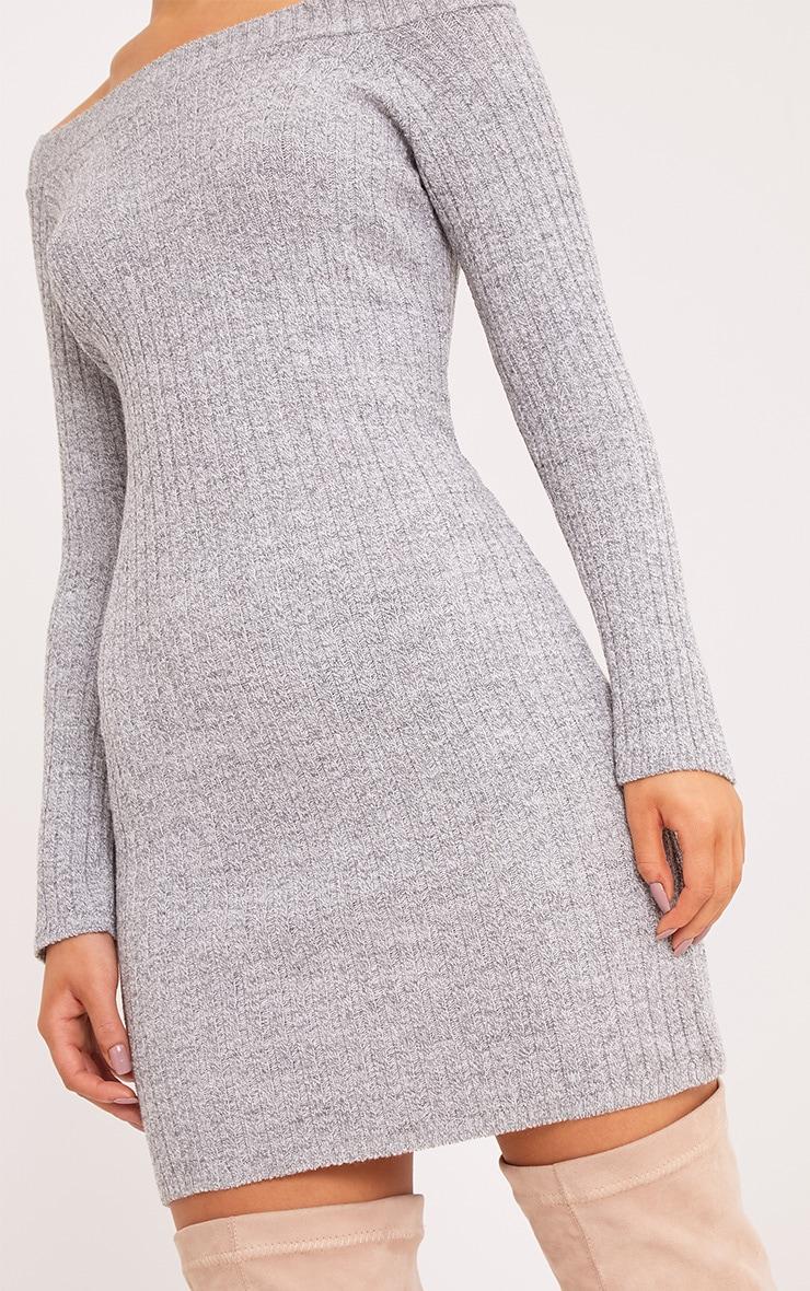 Julia robe pull mini bardot grise 5