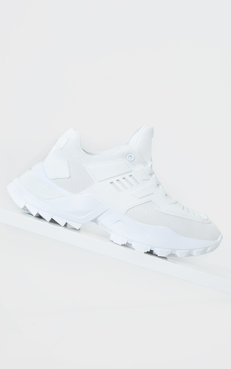 White Sports Panel Upper Cleated Chunky Trainers 4
