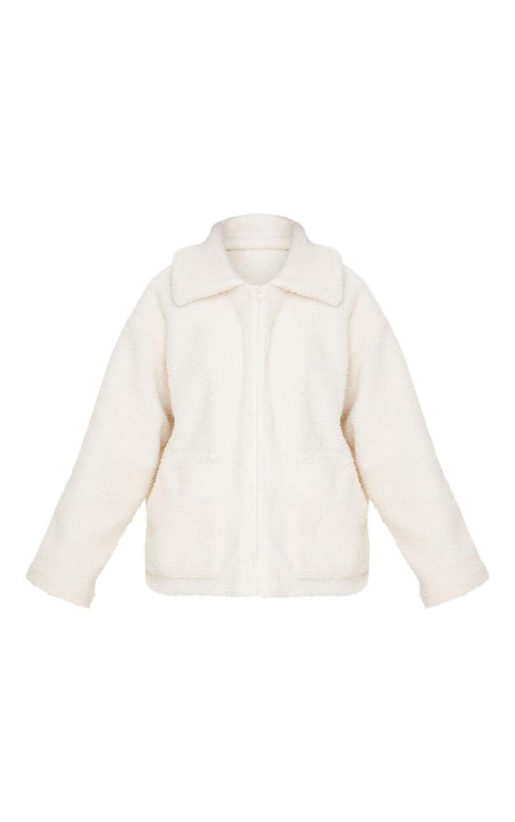 Petite Cream Borg Zip Up Oversized Jacket 3