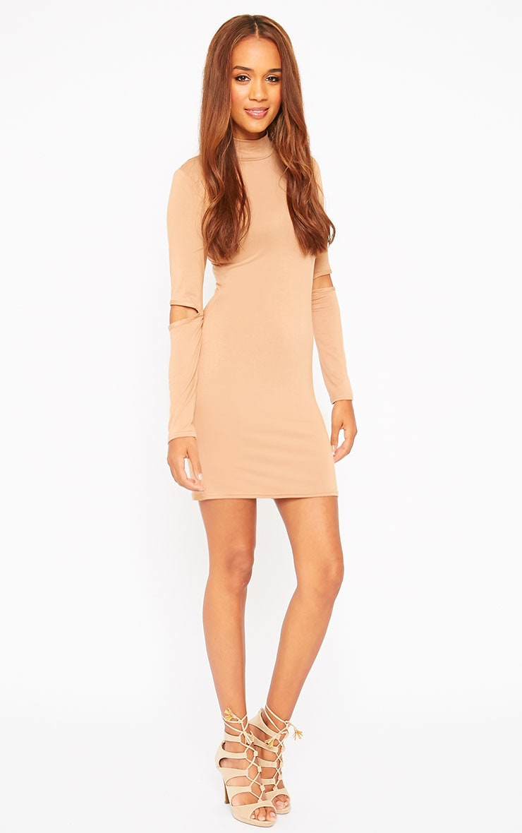 Basic Camel Slit Elbow Mini Dress 3