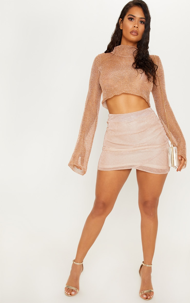 Rose Gold Ruched Metallic Mini Skirt 1