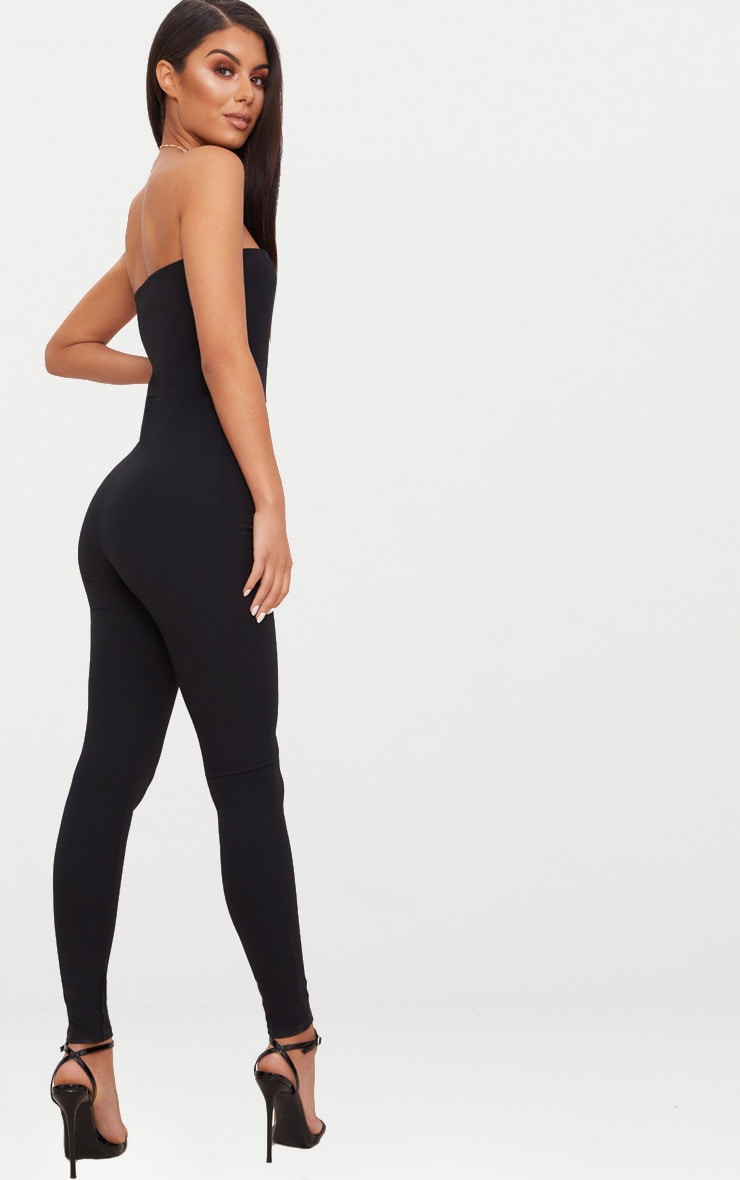 Black Bandeau Slim Leg Jumpsuit 2