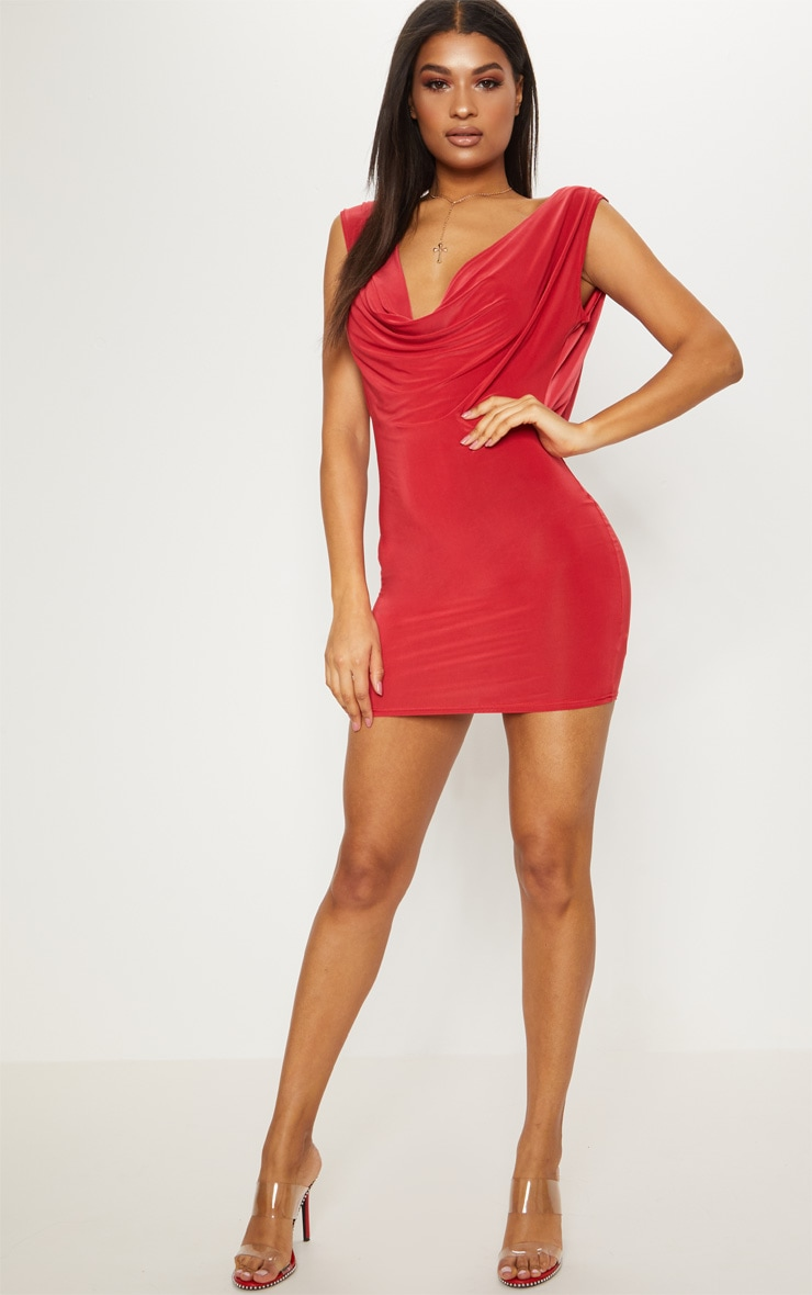 Red Slinky Extreme Cowl Front & Back Sleeveless Bodycon Dress 4