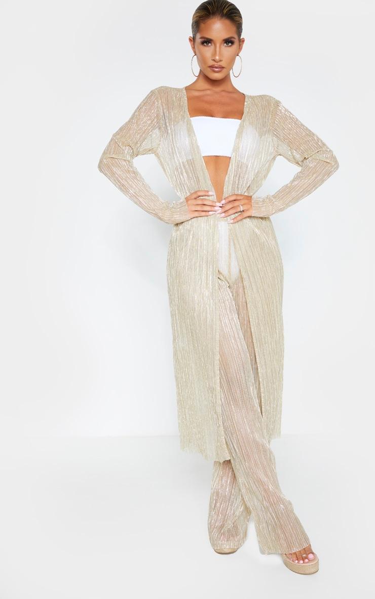 Gold Plisse Midaxi Kimono