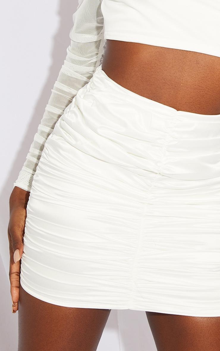Tall White Ruched Detail Satin Mini Skirt 5