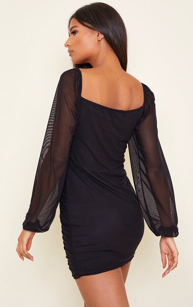 Black Mesh Double Ruched Long Sleeve Bodycon Dress 2