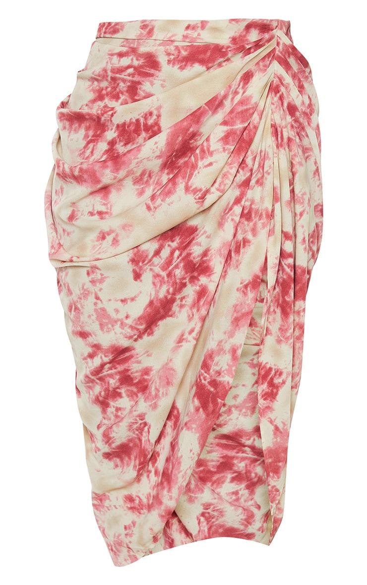 Fuschia Tie Dye Ruched Side Midi Skirt 3