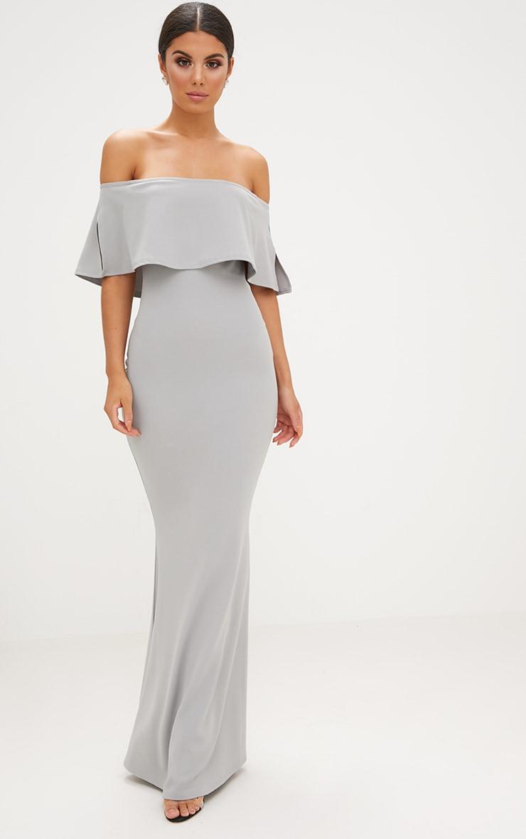 Dove Grey Bardot Frill Fishtail Maxi Dress Dresses Prettylittlething Usa