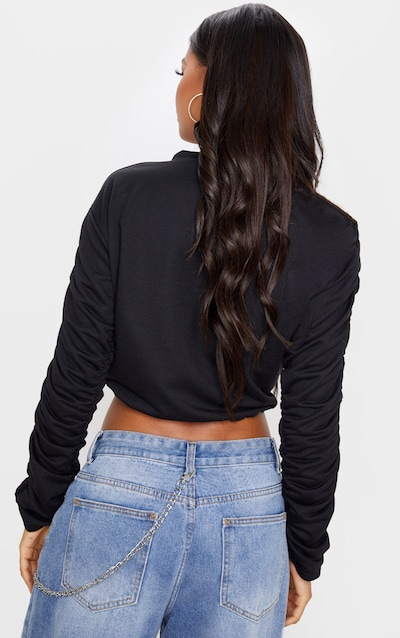 Black Ruched Sleeve Drawstring Crop Sweater