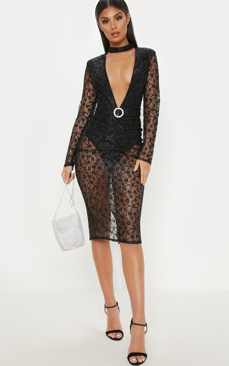 Black Lace High Neck Diamante Buckle Midi Dress 1