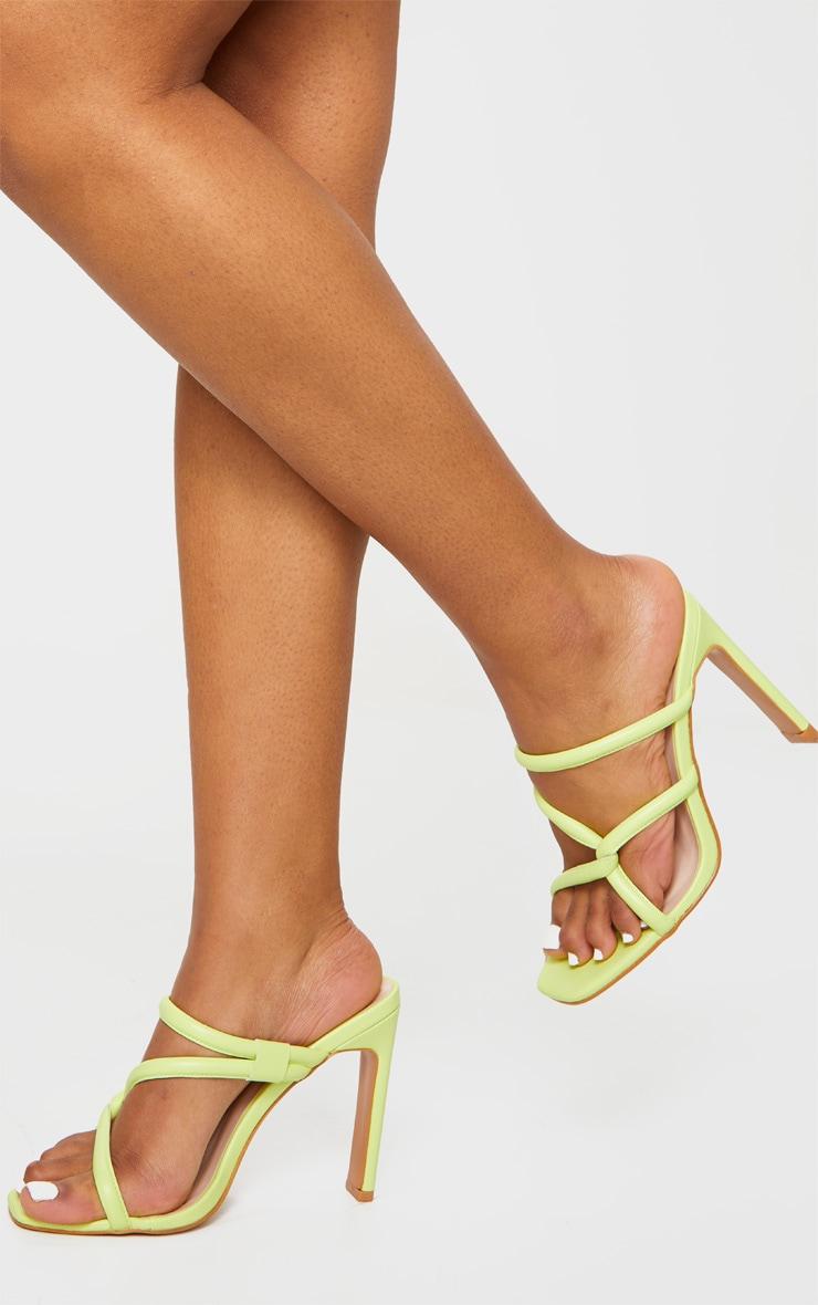 Lime Flat Heel Tube Strap Mule Heels 1