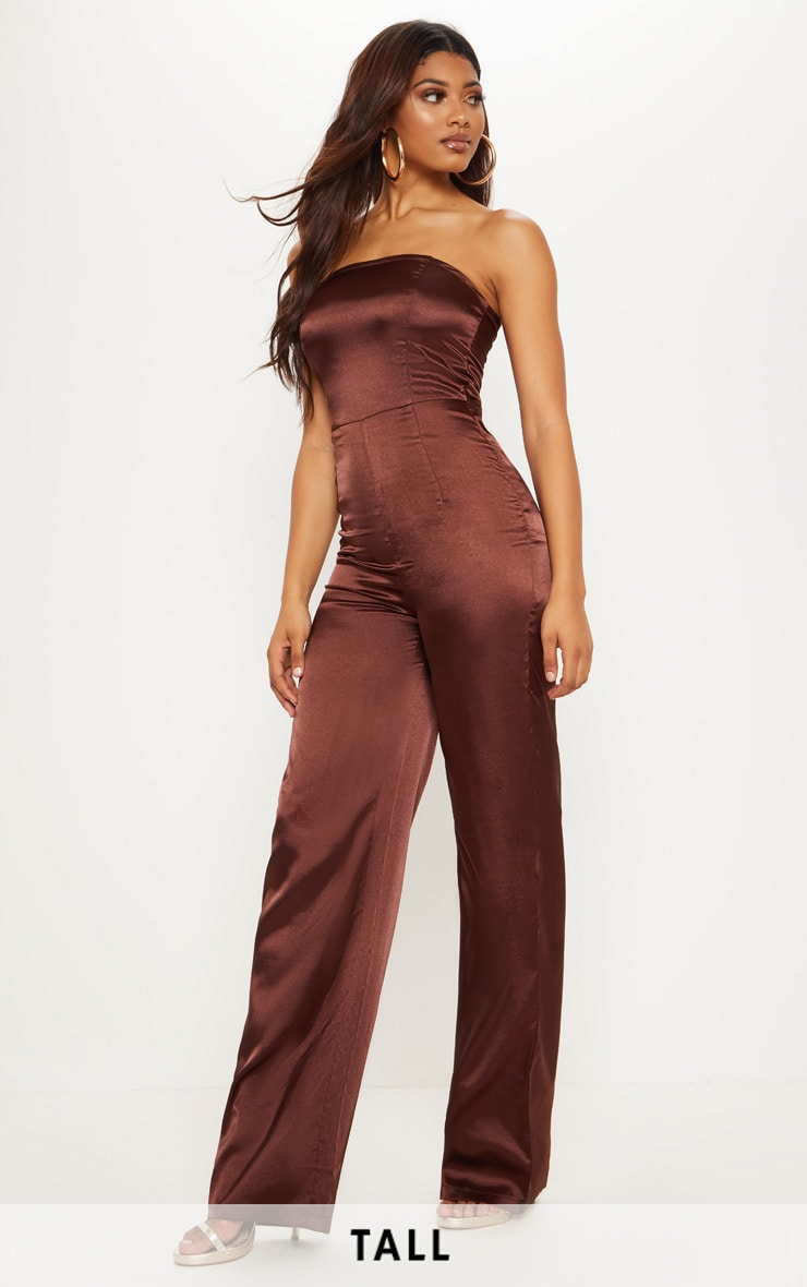 Tall Chocolate Brown Satin Bandeau Jumpsuit 1