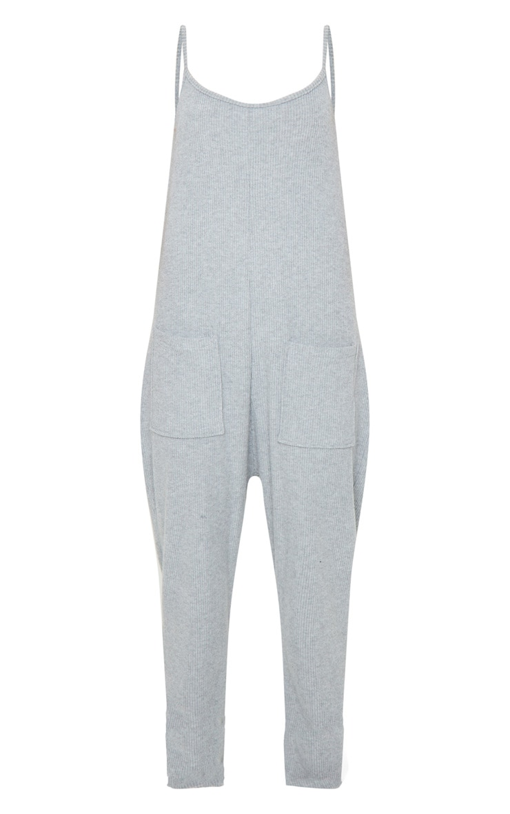Grey Brushed Rib Strappy Pocket Jumpsuit 5