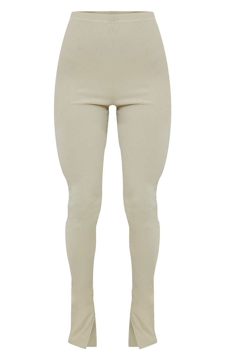 Sage Khaki Ribbed Split Hem Leggings 5