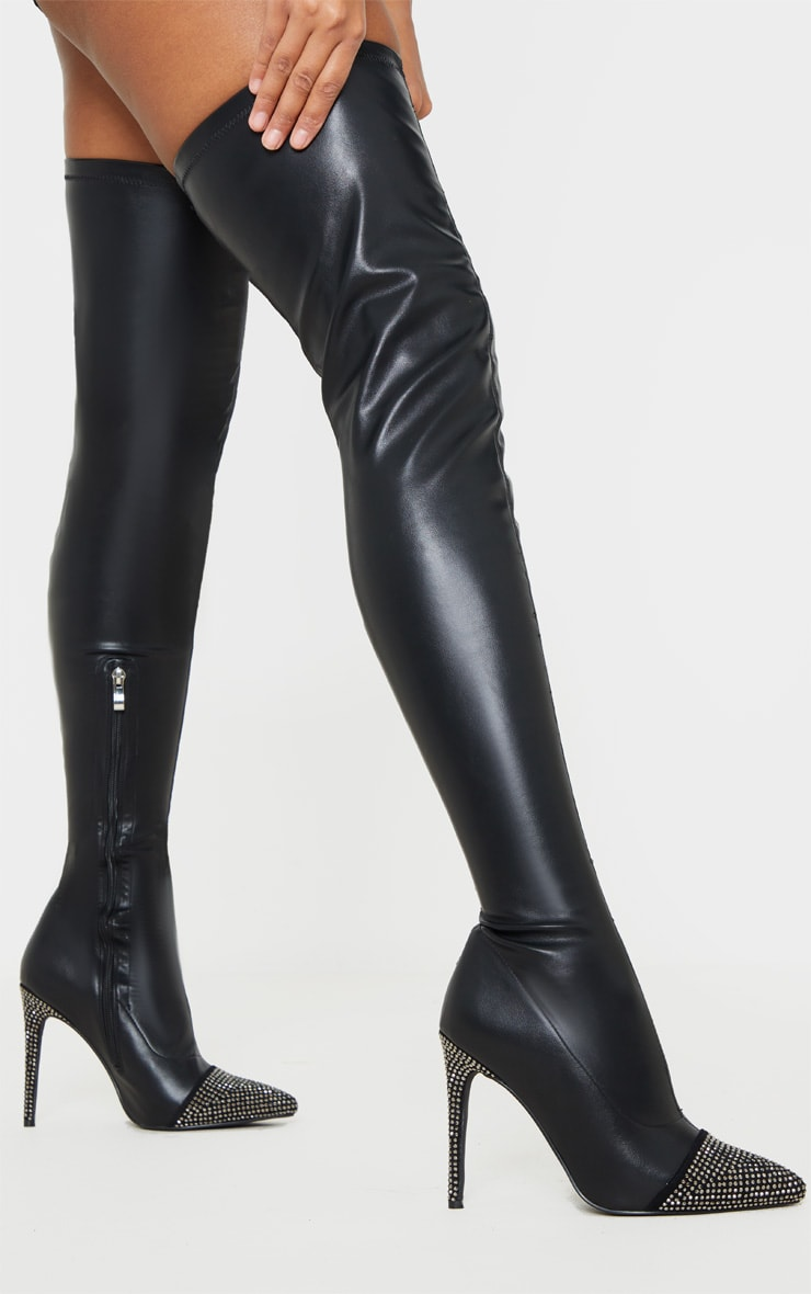 Black Diamante Embellished Thigh High Sock Boot 1