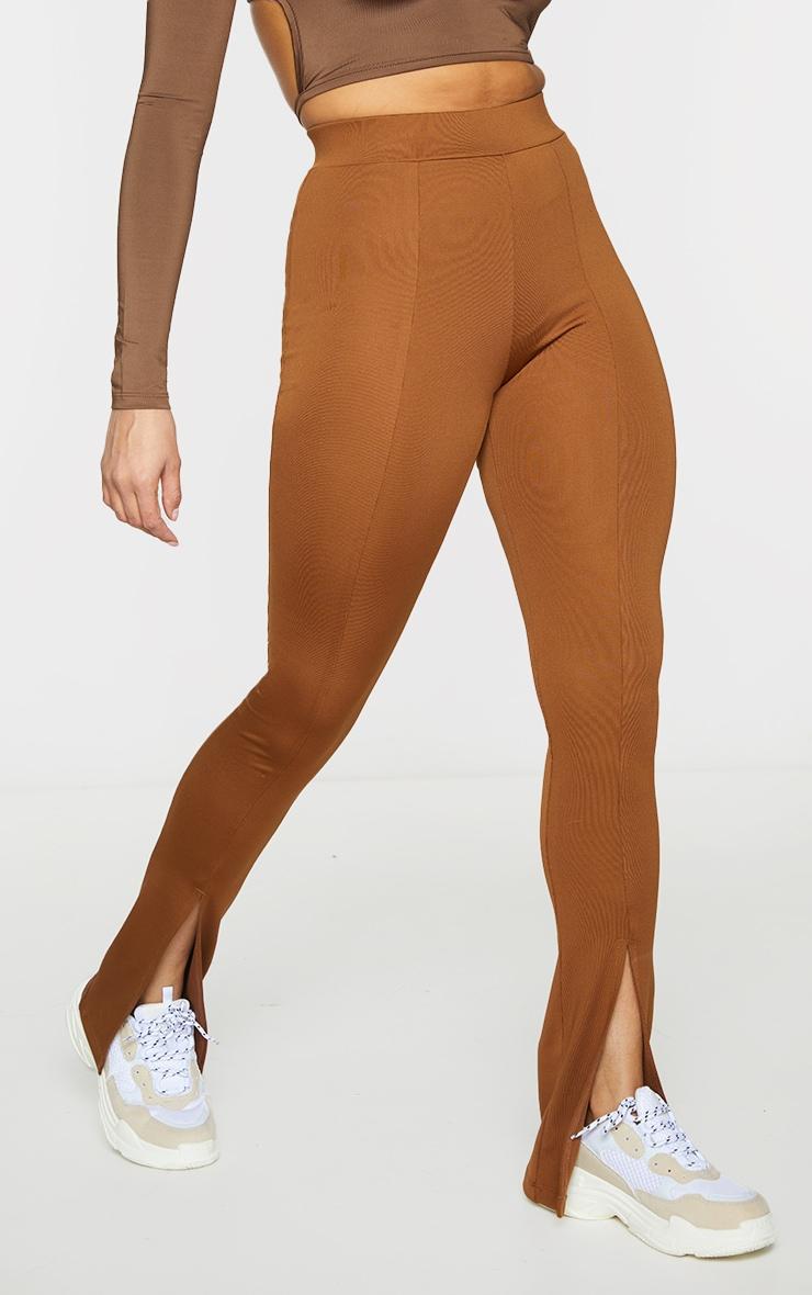 Chocolate Stretch Scuba Skinny Split Hem Trousers 2