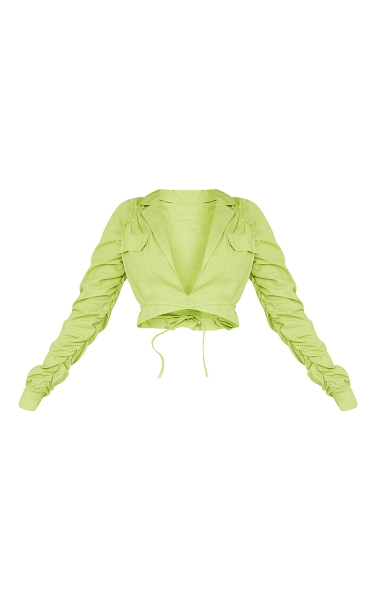 Tall Lime Ruched Sleeve Cropped Blouse 5