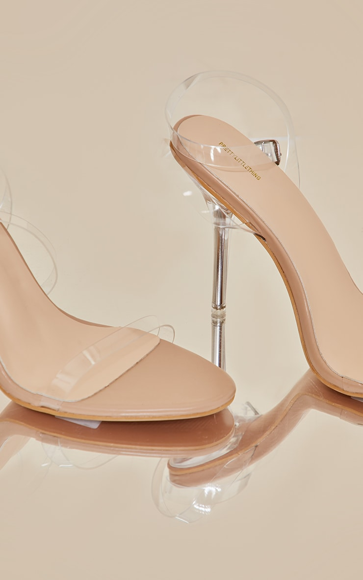 Nude Wide Fit Clear Heel Single Strap Sandal 3