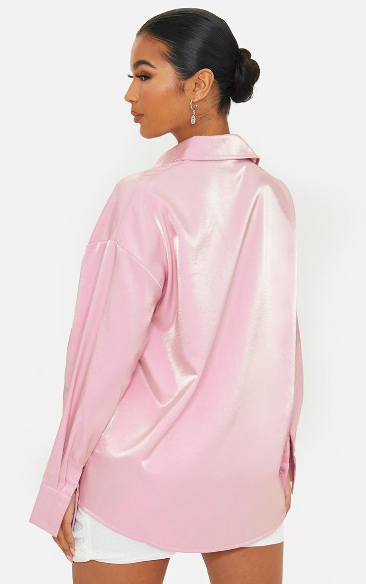 Pink Premium Woven Metallic Oversized Shirt 2